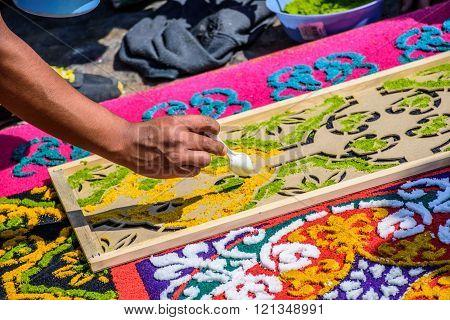 Decorating Dyed Sawdust Lent Carpet Detail, Antigua, Guatemala