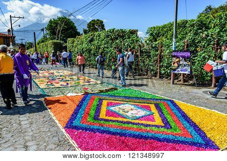 Street Of Colorful Lent Carpets & Volcano, Antigua, Guatemala