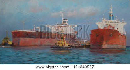 Tanker ships classic handmade  painting