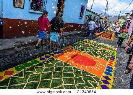 Bubbles Blow Over Colorful Lent Carpets, Antigua, Guatemala