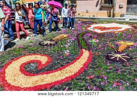 Colorful Parasols & Lent Carpet, Antigua, Guatemala