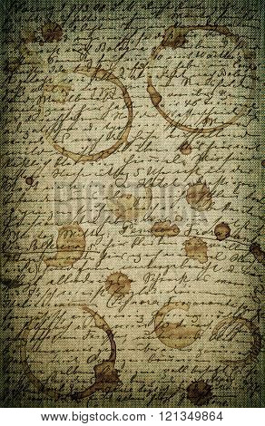 Grunge vintage stained paper texture background with undefined handwritten text
