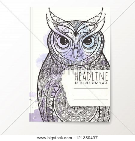Notebook template with hand drawn owl.