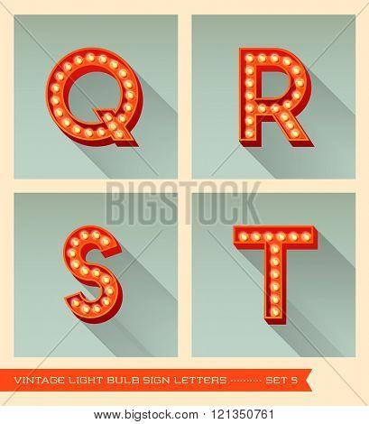 Vintage light bulb sign letters q, r, s, t.