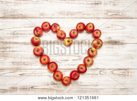 Red Apples Heart. Valentines Day