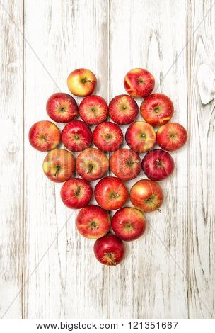 Apples Heart. Love And Valentines Day Concept