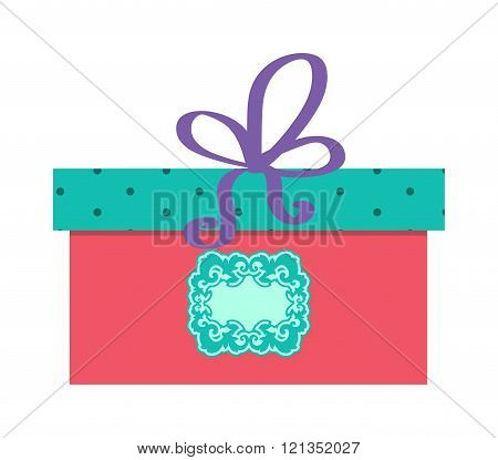 Single red gift box with purple ribbon vector on white background.
