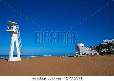 Denia beach Las Marinas baywatch tower in El Moli Alicante of Spain