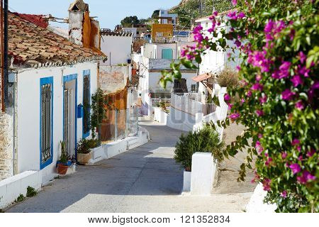 Cullera village streets in Mediterranean Valencia of Spain