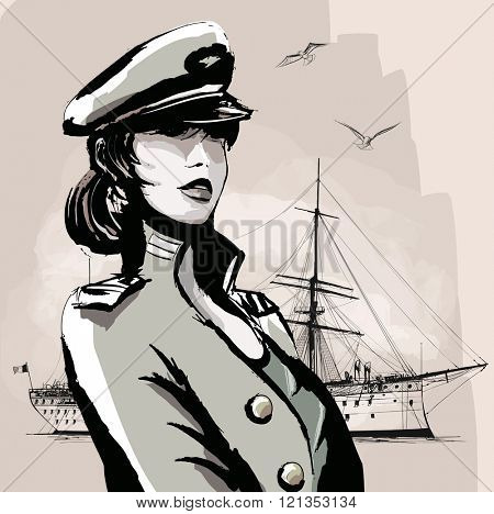 Pretty woman in marine officer uniform - vector illustration