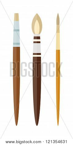 Vector artist brushes isolated on white.