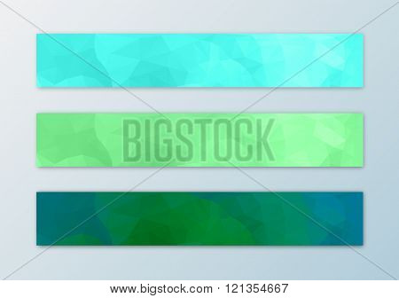 Website banner template set with abstract triangle polygon background