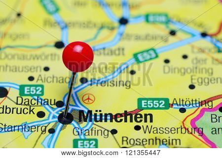 Munich pinned on a map of Germany