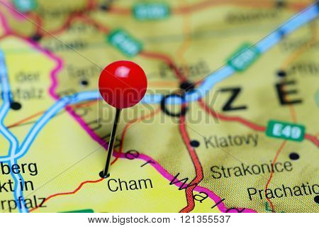 Cham pinned on a map of Germany