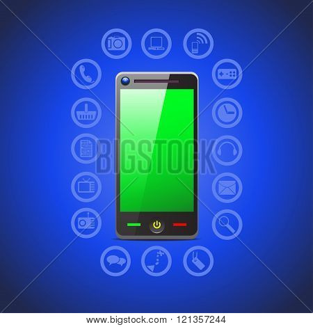 illustration of smart phone tool icons