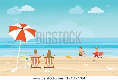 Happy Family Enjoying On Beach During Vacations.