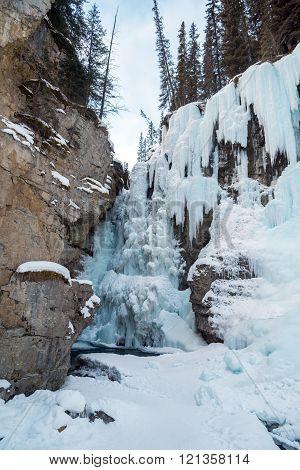 Path to Johnston Waterfall in Banff Park Alberta Canada
