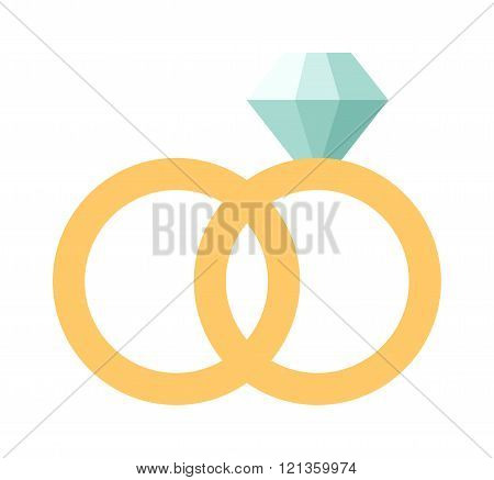 Vector wedding rings icon flat design