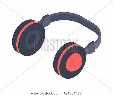 Isometric headphones vector icon isolated on a white background.