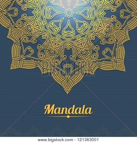 Vector Card With Glow Mandala. Vector Background. Ethnic Decorative Elements. Vintage Round Ornament