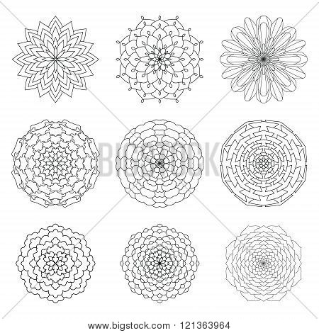 Set Of Ethnic Ornamental Floral Pattern. Hand Drawn Mandalas. Vintage Round Ornament Pattern. Islami