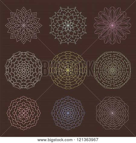Set Of Ethnic Ornamental Floral Pattern. Hand Drawn Mandalas. Vintage Round Ornament Pattern. Islami
