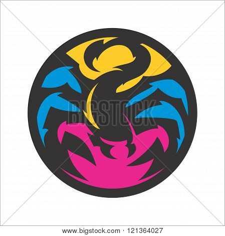 scorpion emblem design, suitable for the icon, print shirts, app icons and more