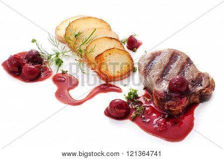 Beef Steak with brandied cherry sauce