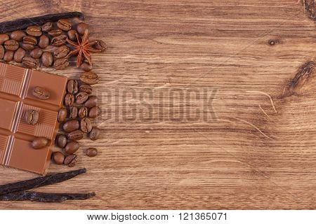 Milk Chocolate, Fragrant Vanilla Sticks And Coffee Grains, Copy Space For Text