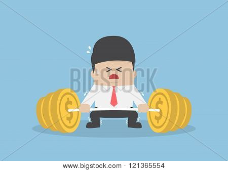 Businessman Trying Hard To Lifting Up Barbell With Coin Weight