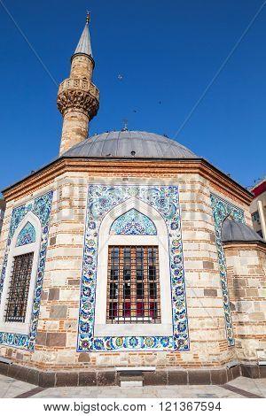 Ancient Camii Mosque Facade And Minaret, Izmir