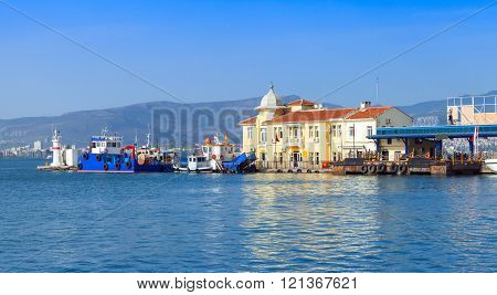 Izmir. Coastal Cityscape With Pasaport Dock