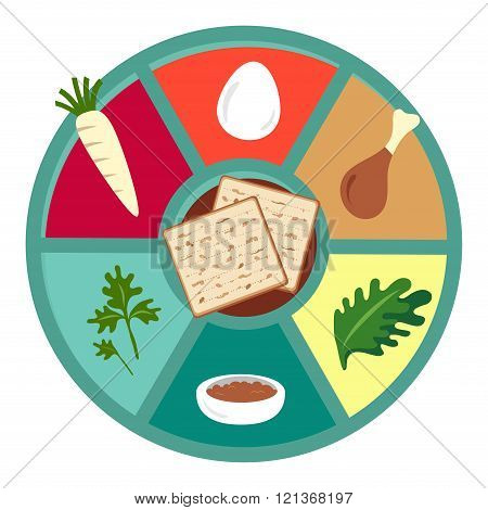 Passover seder flat icons