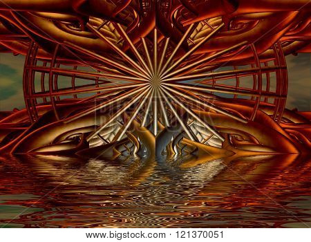 Rendered scene with abstract architecture submerged in water