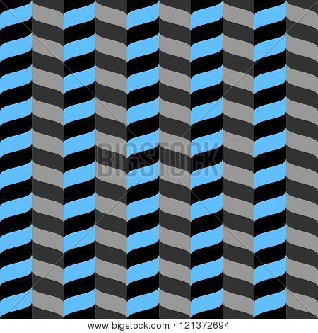 Wavy zig zag seamless pattern. Blue, gray and black background. Abstract geometric waves texture. 3d effect. Design template graphic for wallpaper, wrapping, fabric, textile, etc. Vector Illustration.