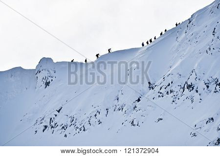 Mountaineers On Fagaras Ridge In Winter