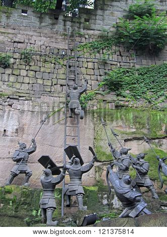 assault of fortress, sculpture composition