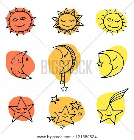 Cute and funny sun moon and stars doodle icons. Vector set