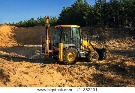 Excavator Illegally Produces Sand, Destroying The Forest Landscape. Ecological .