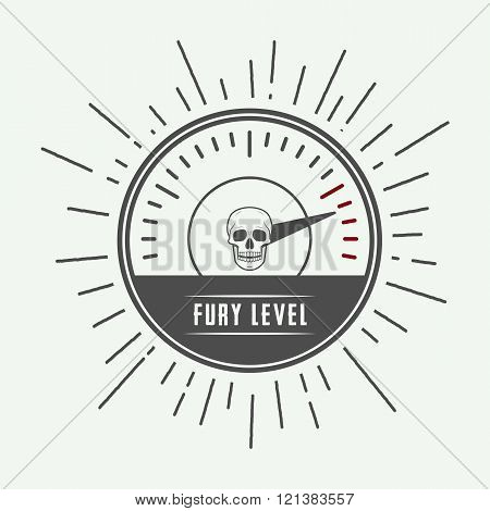 Vintage meter with skull. Vector Illustration, eps 10