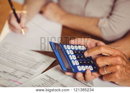 Close up of senior couple counting bills at home