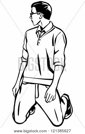 Vector Sketch Of A Young Man With Glasses On Her Kneess