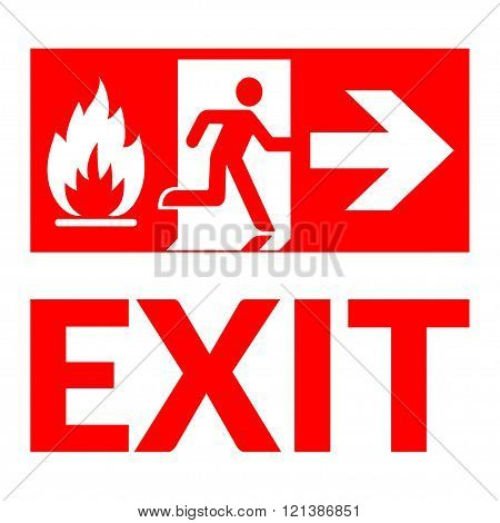 Exit sign. Emergency fire exit door and exit door. Red icon on white background. Safe condition symbol. Label with human figure and arrow. illustration
