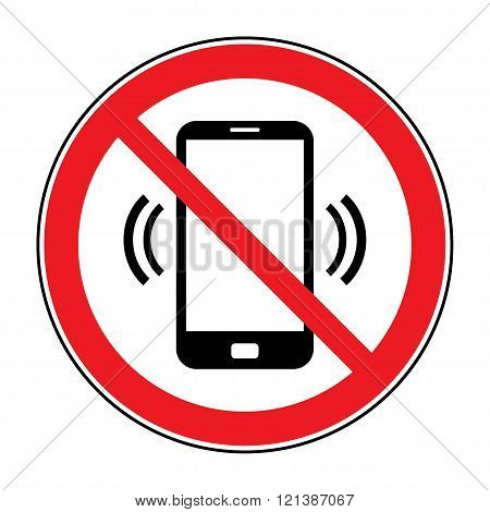 No cell phone sign. Mobile phone ringer volume mute sign. No smartphone allowed icon. No Calling label on white background. No Phone emblem great for any use.