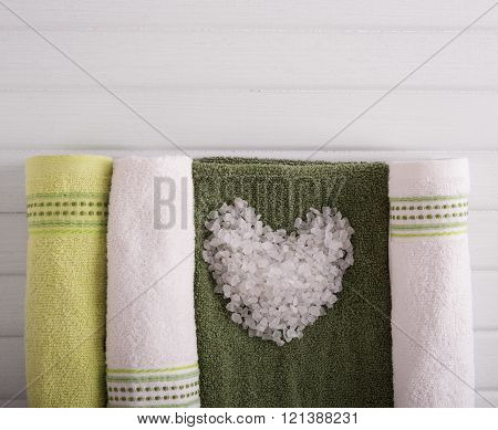 Cosmetic salt and towels