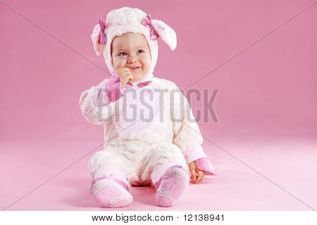 Very cute baby wearing sheep costume