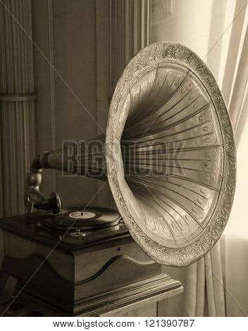 Old gramophone horn