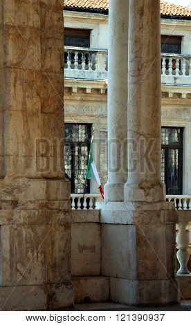 Vicenza, Italy. Large Loggia Of The Basilica Palladiana, Monument By Architect Palladio
