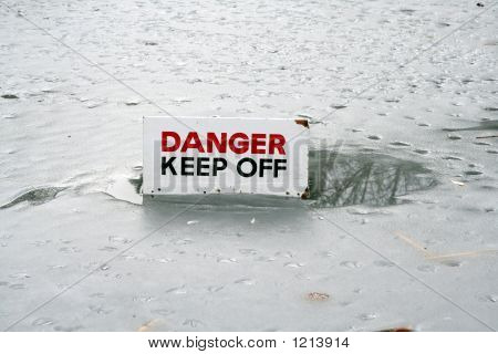 Thin Ice Danger Sign