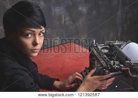 Young Woman Writer In Creative Process, Retro Typewriter, Art Space